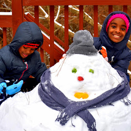SnowMan Makers by Wentworth Howson - People Family ( snow, snowflake, snowy, snowman, snowing )