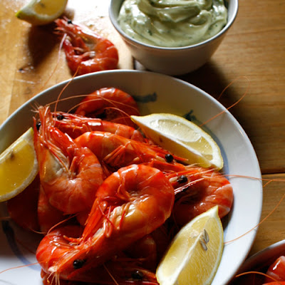 Peel-and-Eat Shrimp with Herb Aioli