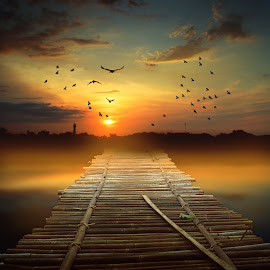 jalan pulang by Indra Prihantoro - Digital Art Places ( sunset, sunrise, road, sun,  )