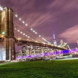 Brooklyn Bridge Park by Mariya Miteva-Simon - City,  Street & Park  City Parks ( brooklyn bridge, manhattan skyline, night scene, night lights, nightview, manhattan, newyork, nightscape, lights, night photo, night photography, light trails, new york city, night shot )