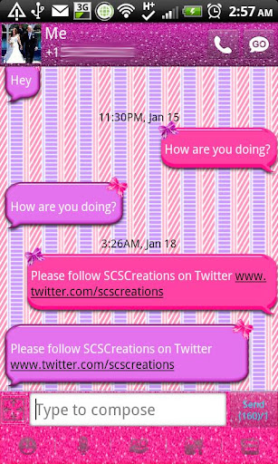 GO SMS - Cute Bows