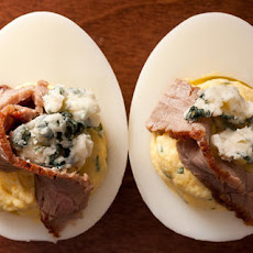 Horseradish Deviled Eggs with Seared Steak and Blue Cheese Recipe