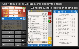 Screenshot of SHOP CALC Pro: Shopping List
