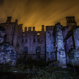 The ruins of Dunmore Park House. by Buster Brown - Buildings & Architecture Decaying & Abandoned ( exposure, scotland, for sale, wire wool, el wire, dungeon, house, stirling, dunmore, spinning, night+photography, dark, long exposure, bb, light, #lobsterit, light+painting, #flickr, cellar, falkirk, fire, shadows, smokey, led, euphoria, #getty, buster, fireworks, night, tunnel )