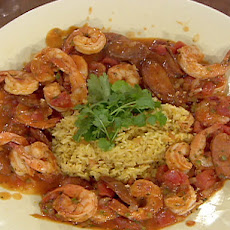 Shrimp, Chorizo and Chipotle Gravy over Mexican Rice