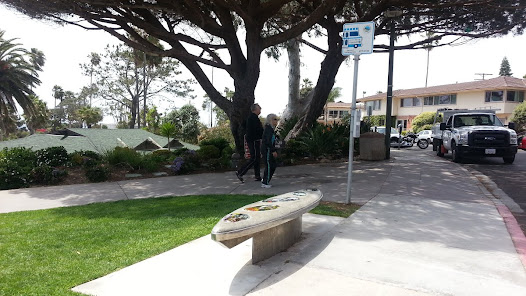 The sculptural bench also serves the bus stop at Laguna Beach's Heisler Park Sculpture Garden.