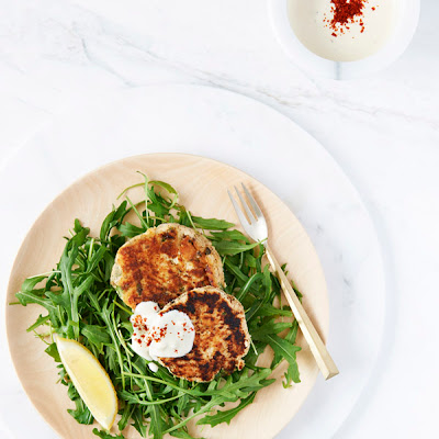 Grain Free Salmon Burgers with Lemon Tahini Dressing