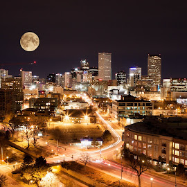 Denver Colorado Night Skyline by Christopher Hays - City,  Street & Park  Skylines ( skyline, night photography, colorado, denver, downtown, nightscape )