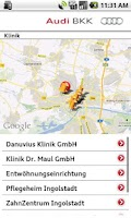 Screenshot of Audi BKK Notfall-Hilfe