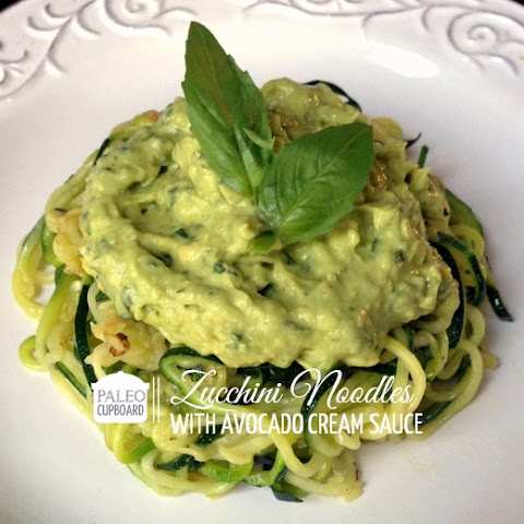 Paleo Zucchini Noodles with Avocado Cream Sauce