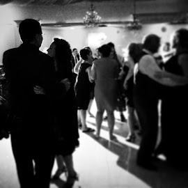 The wedding guests dance the night away! by Julie Dabour - Wedding Reception ( adorable, weddings, weddingreception, jessandchriswedding, blackandwhite, weddingphotography, weddingday )