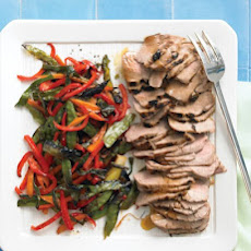 Broiled Soy-Glazed Pork with Rice and Asian Vegetables
