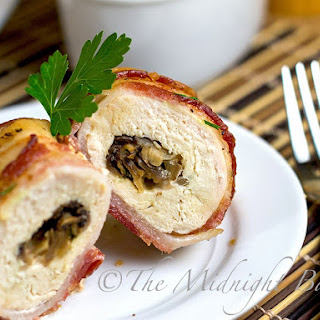 Bacon Wrapped Cheese & Mushroom Stuffed Chicken