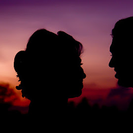 A + B by Meth Kumarasiri - People Couples ( love, silhouette, wedding, people, couples,  )