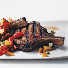 Grilled Pork Chops with Tomato Peach Relish