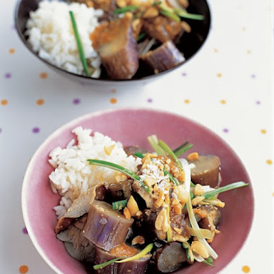Steamed Eggplant and Mushrooms with Peanut Sauce