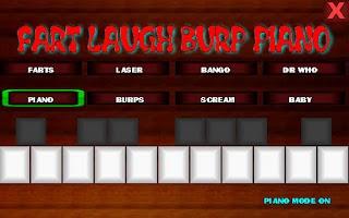 Screenshot of fart laugh burp piano