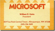 Microsoft First Business Card