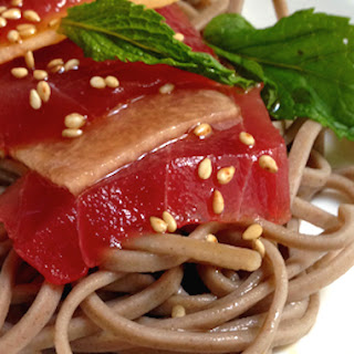 Tuna and Cantaloupe Sashimi over Ponzu Soba Noodles