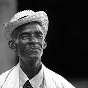 The Joy Of Living by Esteban Rios - People Portraits of Men ( b&w, cuban, happiness, hat )
