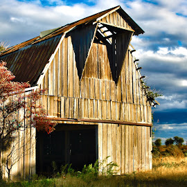 Barn by Roxanne McCallister - Buildings & Architecture Other Exteriors ( hdr, barn, dramatic clouds, fall )