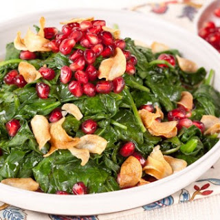 Pomegranate Spinach With Garlic Chips CBC Best Recipes Ever