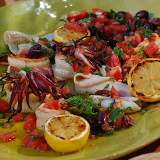 Charcoal Grilled Shrimp and Calamari with Grilled Lemons and Smoked Tomato-Black Olive Relish