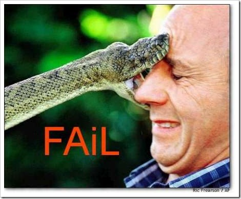 Funny snake fail picture - Man get bit by snake.