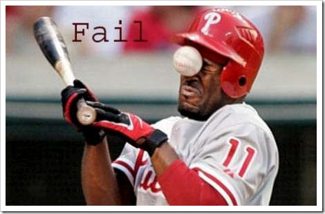 FAIL - Funny Baseball Picture - Ball hits player in the face.