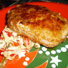 Parmesan Boneless Pork With Sautéed Peppers and Onions