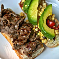 Dinner Tonight: Steak Sandwich with Corn, Tomato, and Avocado