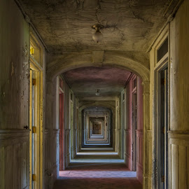 Northampton State Hospital by Katherine Caprio - Buildings & Architecture Decaying & Abandoned ( explore, colorful, fine art, yellow, architecture, print, asylum, urbex, vacant, ward, nurse, derelict, pink, hallway, hospital, abandoned, decay )