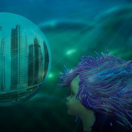 Anemone by Cathy Wagner - Digital Art People ( fantasy, blue and green, city in a bubble, underwater, futuristic, anemone child, digital art, human hybrid )