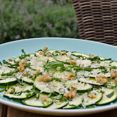 Zucchini Carpaccio Salad with Parmesan, Basil, and Walnuts