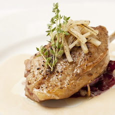 Confit Duck Leg, Red Cabbage Apples And Green Peppercorn Sauce