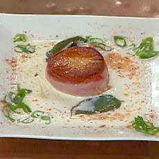 Bacon Wrapped Scallops with Fried Sage and Brie Cream Sauce