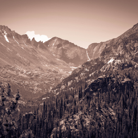 Rocky Mountains by Del Candler - Black & White Landscapes ( clouds, mountains, sepia, trees, rocky mountain national park, road, valley,  )