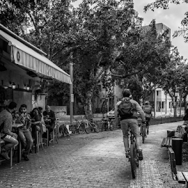 Hurry up by Robert Namer - Transportation Bicycles ( cityscapes, blackandwhite, streetphotography, bike, coffee, street, people, street scenes, black, street photography, city )