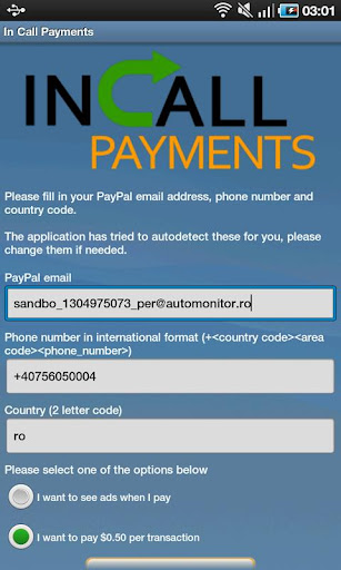 In Call Payments