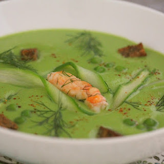 Pea Soup with Prawns and Asparagus.