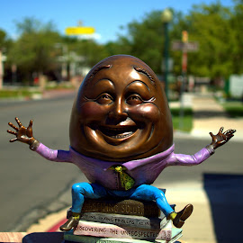 Eggsellent  by Daniel Hackett - Buildings & Architecture Statues & Monuments ( statue, eggs, dumpty, nevada, humpty, boulder, district, historic, city )