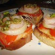 Shrimp-Onion Crostini With Almond-Parsley Pesto