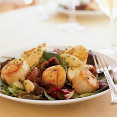 Seared Scallops with Port-Poached Figs and Apple Salad