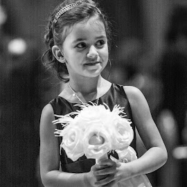 Flower Girl by E.g. Orren - Wedding Other ( ceremony wedding aisle flower girl, woman, b&w, portrait, person,  )