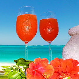 Providenciales, Turks and Caicos by ~Gwendolyn~ Model - Food & Drink Alcohol & Drinks ( red, blue, green, orange. color )