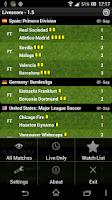 Screenshot of Livescore for Soccer
