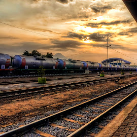 Bangil Railway Station by Randi Pratama M - Transportation Railway Tracks ( railroad tracks, railway, railroad, , vertical lines, pwc )