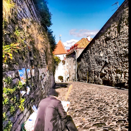 Street Artist interprets his imagination of Old Town Tallinn street by Foto Woz - Novices Only Portraits & People