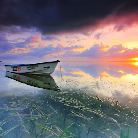 The Boat by Sunan Tara - Transportation Boats ( water, sunset, transportation, seascape, sunrise, beach, landscape, boat )