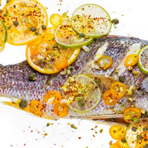 Roasted Red Snapper with Citrus and Pistachios